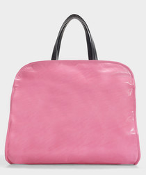 Neon fuchsia leather shopper