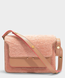 Medium Trunk pink leather shearling bag