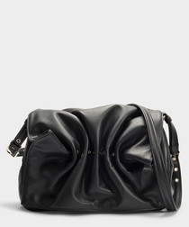 Bloomy black leather shoulder bag