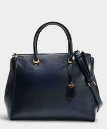 Benning XL blue leather satchel