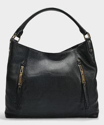 Evie Large black leather shoulder bag