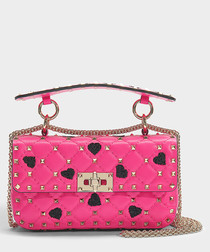 Hearts Rockstud Spike pink shoulder bag