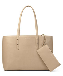 Regent beige saffiano leather tote