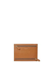Multi-currency tan leather wallet