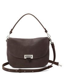 Grey leather slouchy saddle bag