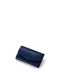 Midnight blue leather moc-croc purse