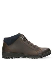 Dark brown & navy blue contrast sneakers