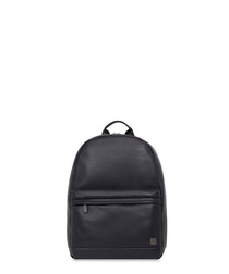 Albion black leather backpack 15.6""
