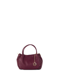 Cherry red leather shopper
