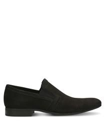 Black nubuck slim loafers