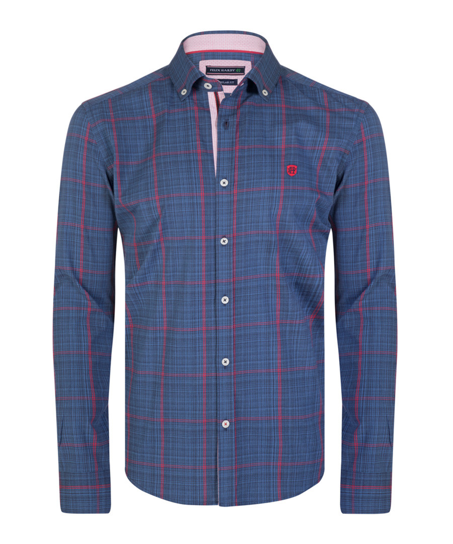 Navy & red pure cotton checked shirt Sale - felix hardy