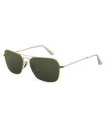 Caravan gold-tone & green sunglasses