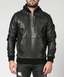 Bronx black leather hooded jacket