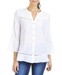 White bell sleeved button-up top