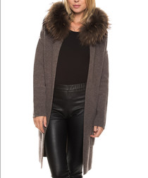 Cecile brown wool & cashmere fur coat