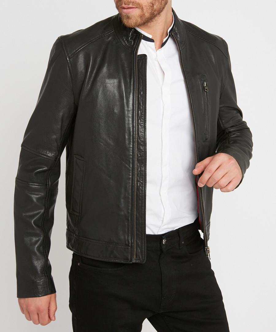 Oliver black leather jacket Sale - giorgio & mario