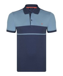 Navy pure cotton colour block polo shirt