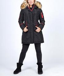 Black puffer zip-up jacket