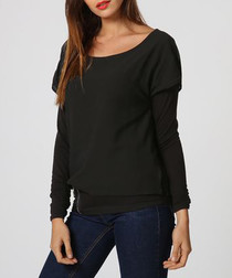Black scoop neck blouse