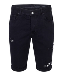 Trashed black ink pure cotton shorts