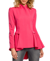 Pink pleated high low jacket