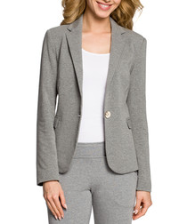 grey one-button tailored jacket