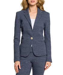 navy blue one-button tailored jacket