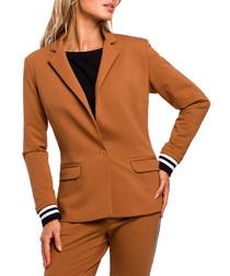 Caramel cotton blend one-button jacket