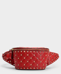 Rockstud Spike red belt bag