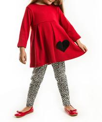 2pc Red heart tunic & leggings set