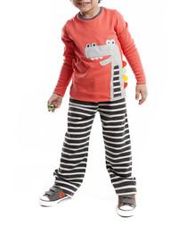 2pc Dino Mino striped outfit set