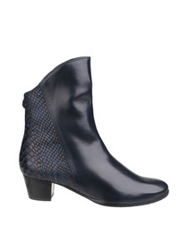 Navy leather moc-croc contrast boots