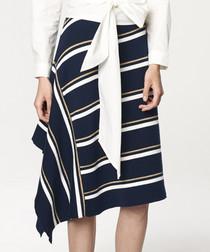Multi-coloured navy striped skirt