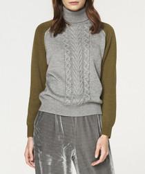 Multi-coloured wool blend knit jumper