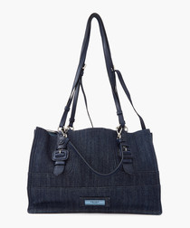 Denim & glace leather shopper bag