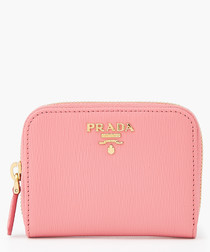 Leather zipped small pink wallet