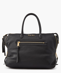 Madras black leather shopper