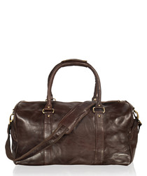 Brown leather tubular holdall