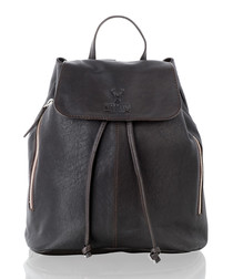 Brown leather medium backpack