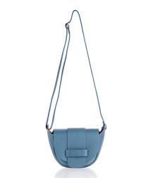 Denim blue leather small crossbody