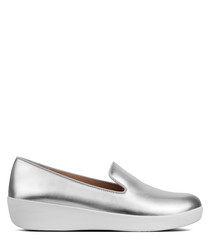 Audrey silver-tone slip-ons