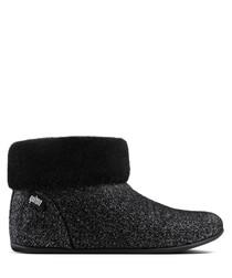 Sarah black shearling slipper boots
