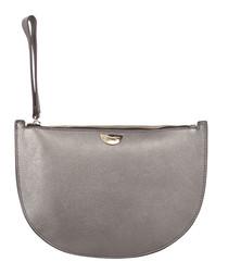Adige gunmetal leather clutch