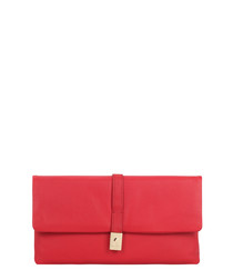 Piave red leather clutch