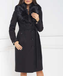 Black tie-waist trimmed collar coat