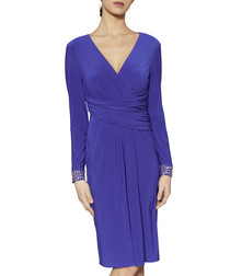 Louisa sapphire beaded cuff dress