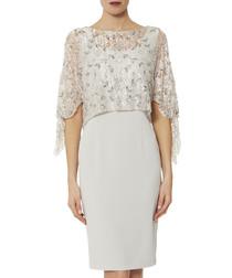 Pearle silver-tone mist lace dress