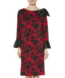 Theresa red & black printed dress