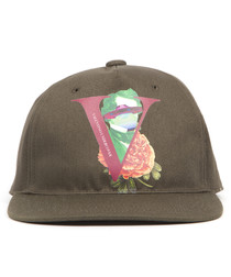 Olive cotton printed hat