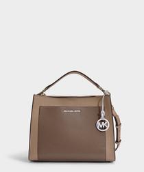 Annette Medium Pocket Satchel in Truffle Pebble Leather